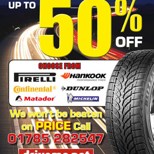 Drive Me Tyres A5 leaflet
